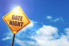 Yellow road sign with a blue sky and white clouds: date night - stock illustration