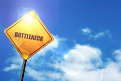Yellow road sign with a blue sky and white clouds: bottleneck Stock Illustration