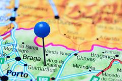 Arco de Baulhe pinned on a map of Portugal Stock Photos
