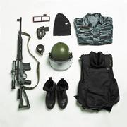 Organized military uniform and equipment Stock Photos