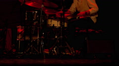 Drummer Man / Drum Set / Playing Drums. Jazz Drummer Playing on Stage Stock Footage