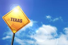 Yellow road sign with a blue sky and white clouds:  texas - stock illustration