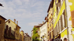 Buildings Thiou river Annecy, France 5K HD Stock Video Footage Stock Footage