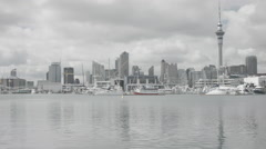 Auckland City Skyline view with sea in the foreground Stock Footage