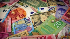 Currencies Of The World Rotating Stock Footage