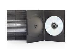 Dvd boxes with disc on white background Stock Photos