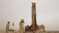 Modern Rotary Drill Rigs Bore Oil Well - stock footage