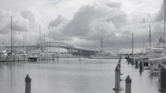 Auckland marina with small boat entering Stock Footage