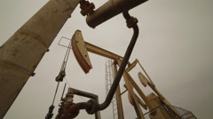 Crude Oil Pump In Oil Field Stock Footage