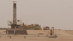 Oil Gas Drilling Tower In Desert - stock footage