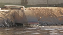 Industrial Pipe Discharging Liquid Waste Stock Footage