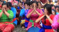 Indonesian women celebrate Balinese New Year, Ubud, Bali, Indonesia Stock Footage