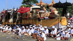 Indonesian people celebrate Balinese New Year, Ubud, Bali, Indonesia Stock Footage