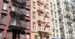 Row of Apartment Buildings in Manhattan New York 4k Stock Video Stock Footage