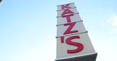 Katz's Deli Sign in Manhattan New York 4k Stock Video - stock footage