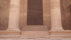 Close up of the entrance of Treasury Building in the lost city of Petra - stock footage