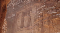The Treasury building in the lost city of Petra - stock footage