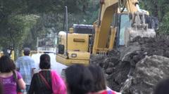 Road Work Excavation Stock Footage