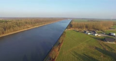 Aerial view of sehestedt a town divided by the kiel canal Stock Footage