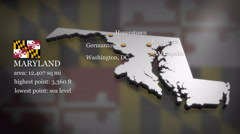 3D animated Map of Maryland Stock Footage