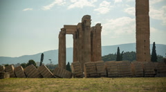 Temple of Zeus ruins in Athens, Greece Stock Footage