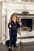 Chimney Sweep Playful Girl Stock Photos