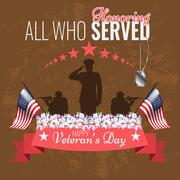 Veterans day background. Vector Veteran greeting card. - stock illustration