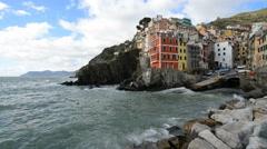 Riomaggiore in the Cinque Terre region of Liguria, Italy. Stock Footage