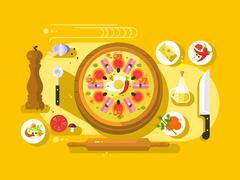 Pizza cooking design flat - stock illustration