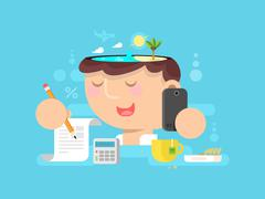 Thoughts in my head. vacation planning - stock illustration