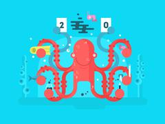Octopus character design flat Stock Illustration