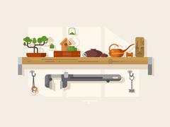 Shelf interior with object - stock illustration
