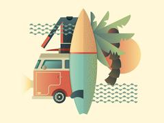 Surfing design concept - stock illustration