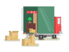 Moving furniture loading Stock Illustration