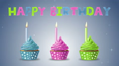 Happy birthday with cupcakes and candles on a blue background. 4K motion. Stock Footage