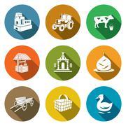 Village life Icons Set. Vector Illustration - stock illustration