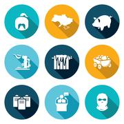Ukraines energy problems Icons Set. Vector Illustration - stock illustration