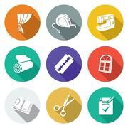 Sewing curtains service Icons Set. Vector Illustration Stock Illustration