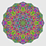 Colorful Circle Kaleidoscope Backdrop. Mosaic Abstract Flower of Stock Illustration