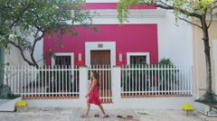 Woman walking in Streets of Old San Juan in Puerto Rico Stock Footage
