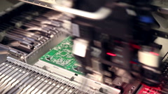 Automated electronics parts manufacturing line Stock Footage