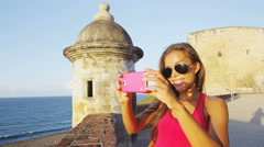 Puerto Rico travel tourist woman in San Juan at Castillo San Felipe Del Morro Stock Footage