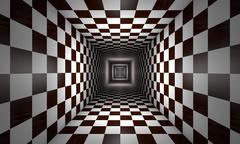 Limited consciousness (chess metaphor). 3D illustration rendering - stock illustration