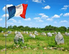 Megalithic monuments menhirs in Carnac - stock photo