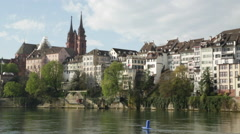 Basel Cathedral on the Rhine River Stock Footage