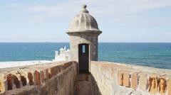 Puerto Rico tourist destination Landmark El Morro Watchtower or Garita Stock Footage