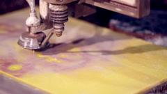 Cutting 3d printer made plastic equipment Stock Footage