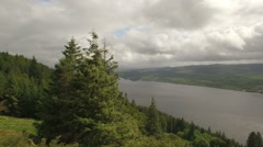 Aerial shot revealing Loch Awe in Scotland - stock footage
