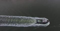 Aerial view of a tug bot in the kiel canal Stock Footage