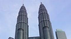 Petronas Twin Towers at Kuala Lumpur, timelapse - stock footage
